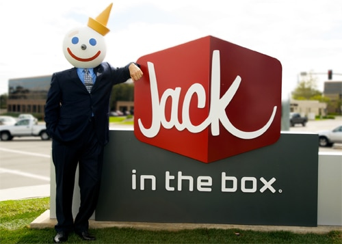 Jack in the Box Customer Survey featured image showing Jack leaning on the Jack sign, over in the box
