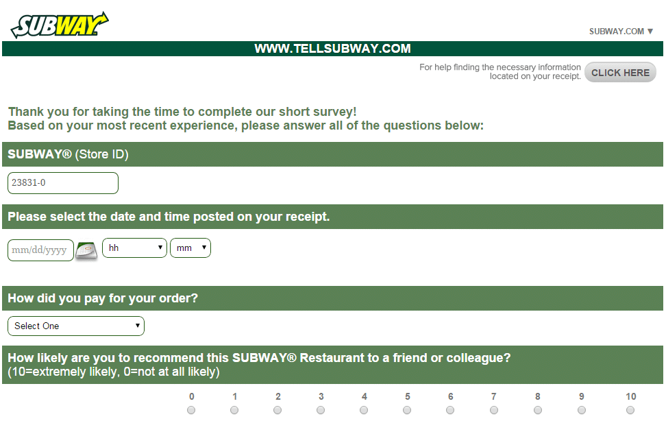 www.tellsubway.com customer satisfaction survey