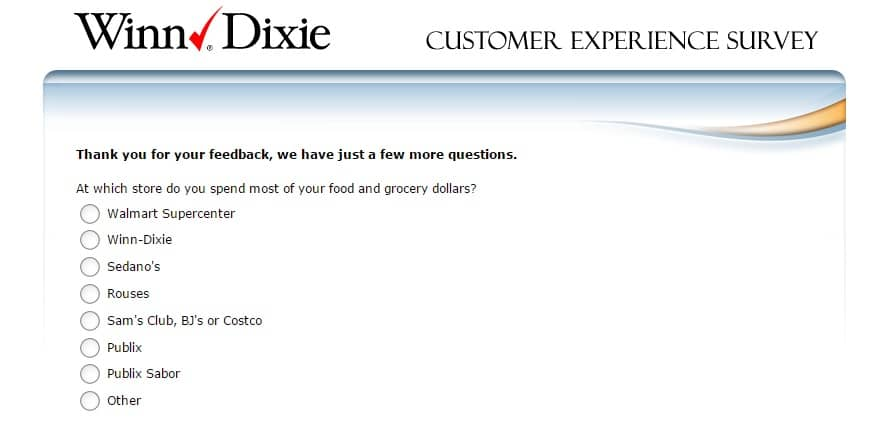 winn dixie customer feedback survey 3