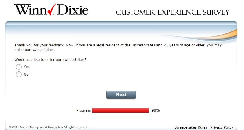 winn dixie customer feedback survey 4