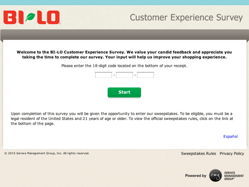 BI-LO survey website first page