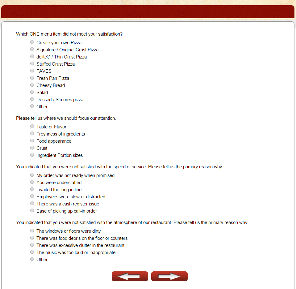 papa murphy's survey aspects that need attention