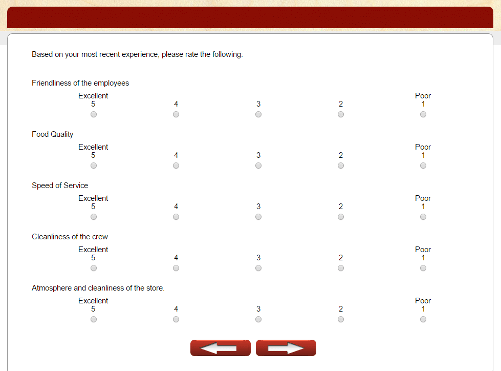 papa murphy's survey - aspects to rate