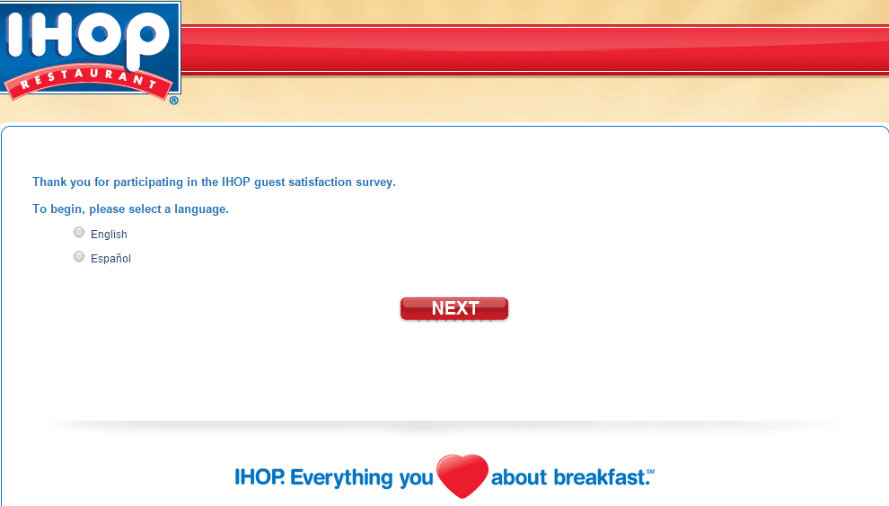ihop survey page 1