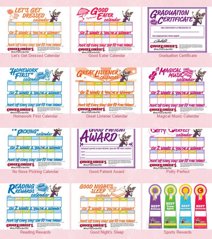 chuckecheese rewards calendar