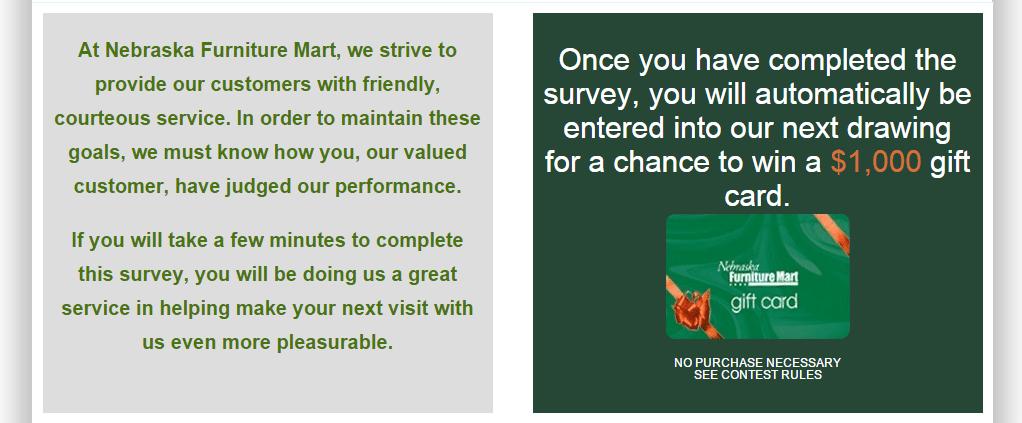 nebraska furniture mart customer service survey last page to complete