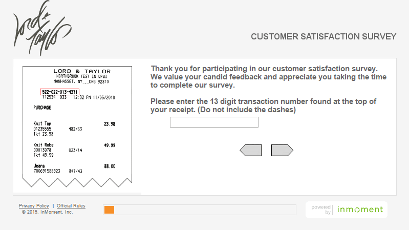 lord and taylor customer service survey