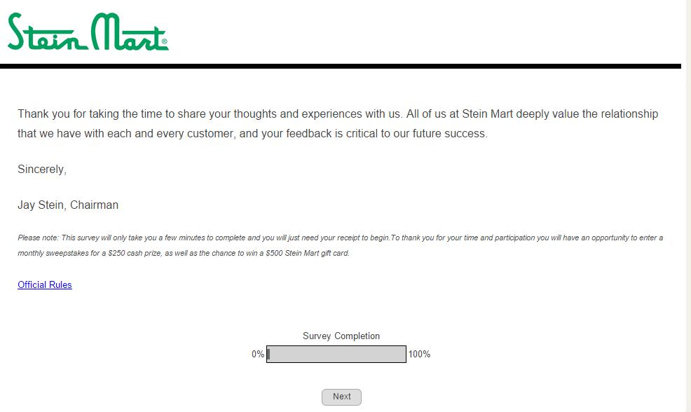survey.steinmart.com page 1