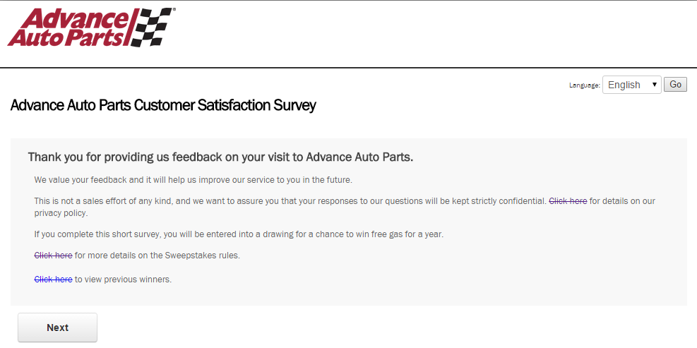 www.AdvanceAutoParts.com Survey Page 2