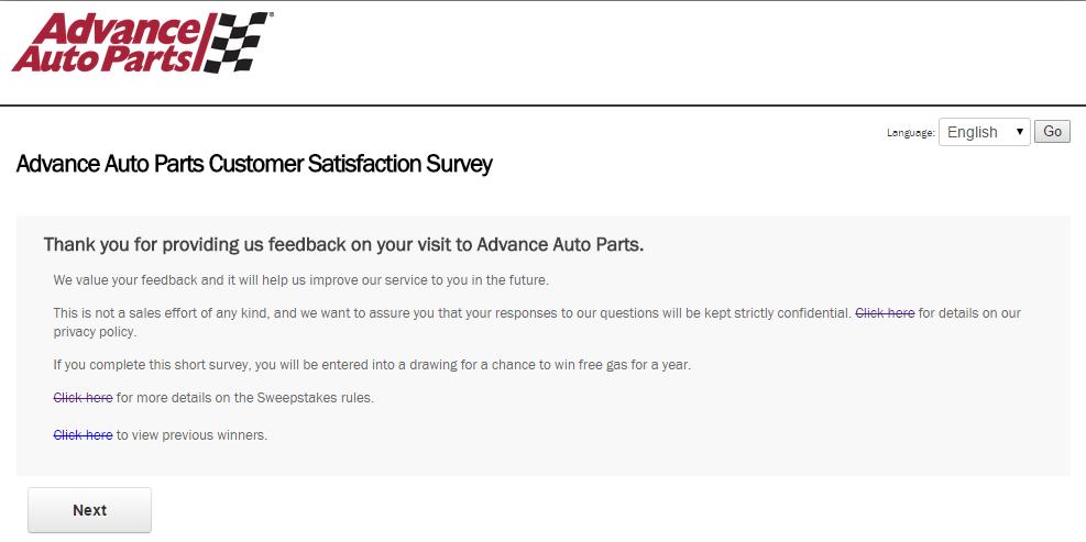 www.AdvanceAutoParts.com Survey Page 2
