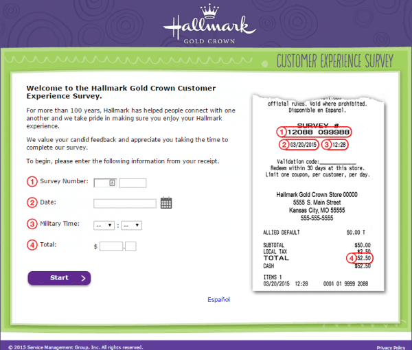 hallmark feedback survey page 1