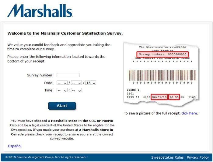 marshalls feedback survey link