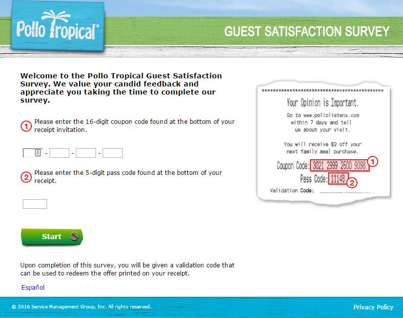 pollo tropical survey screenshot