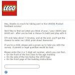 Lego Survey screenshot