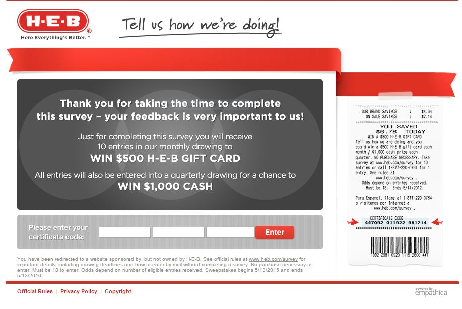 heb customer satisfaction survey screenshot