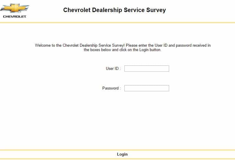 screenshot Chevrolet dealership survey