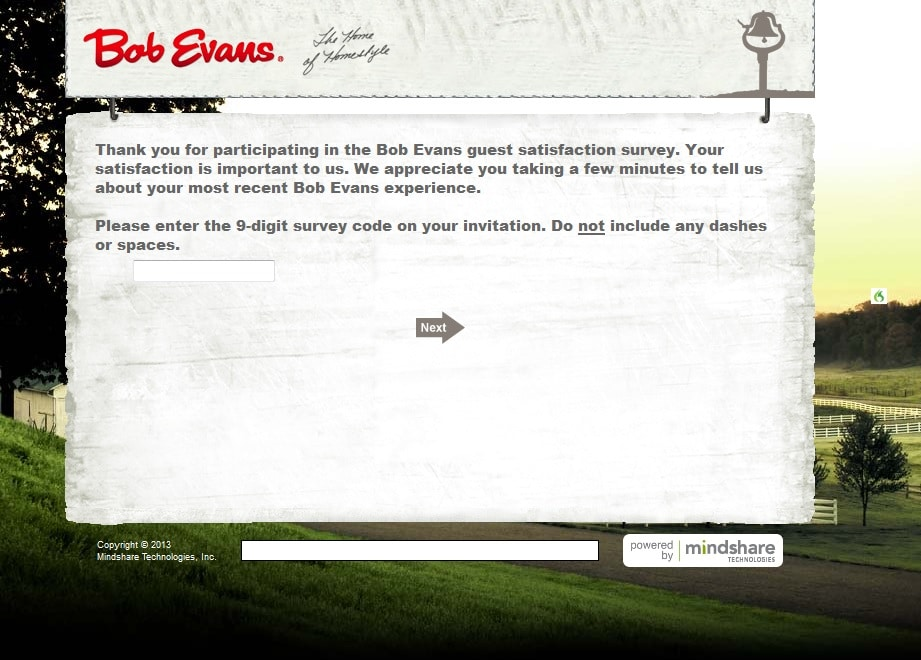 bob evans page for bob evans survey