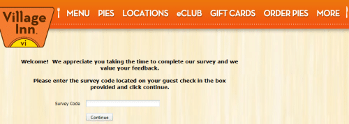 Village Inn customer feedback survey snapshot