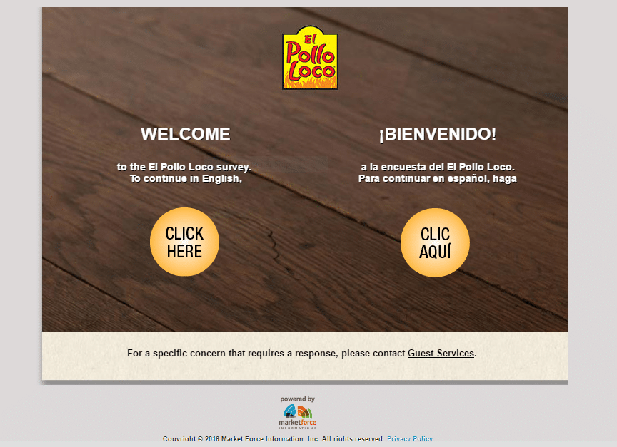 first page of El Pollo Loco survey