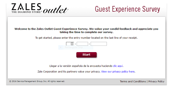 screenshot zales outlet survey