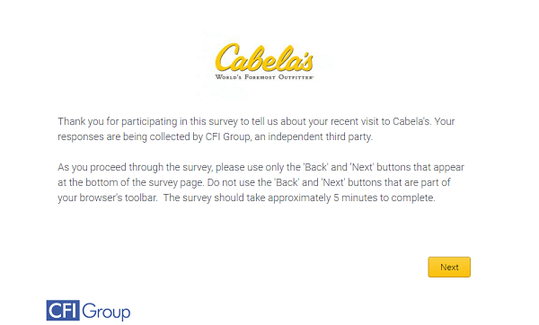second page on cabelas survey page