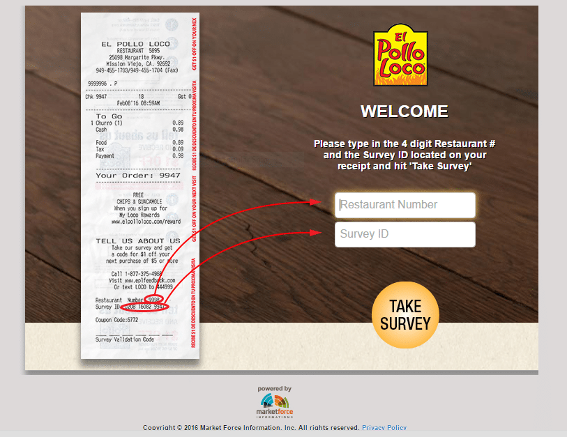 registration page screenshot for El Pollo Loco survey