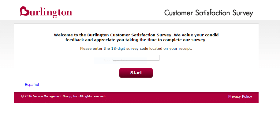 burlington survey first page screenshot