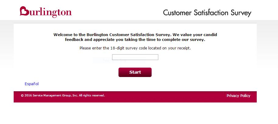 burlington survey first page screenshot