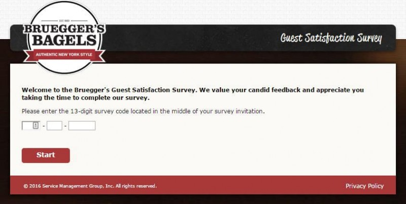 brueggers survey start page