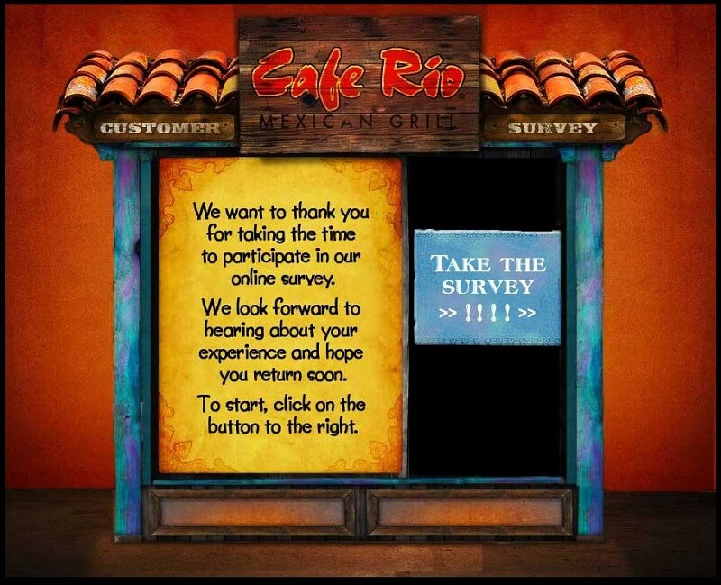 cafe rio survey starting screen