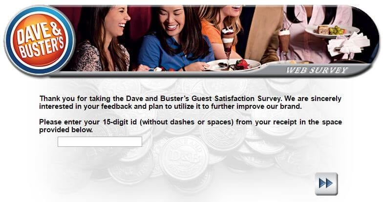 Dave and Busters Survey First Page