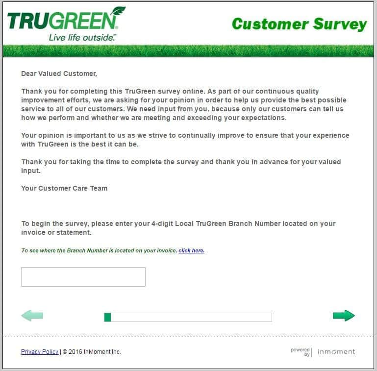 first page of the trugreen-survey