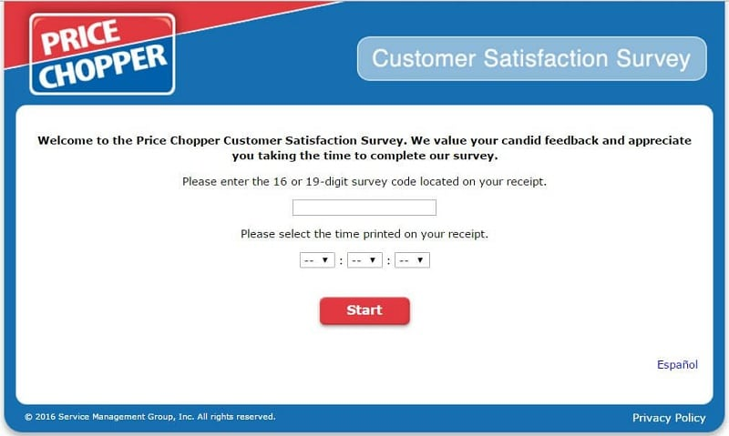 price chopper survey - the first page