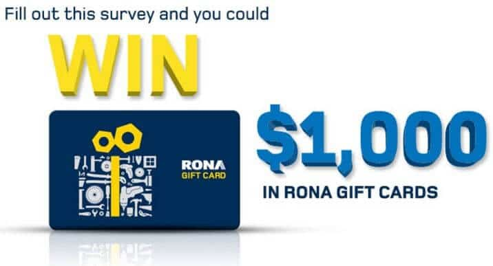 gift card customers can earn by filling out the Rona survey