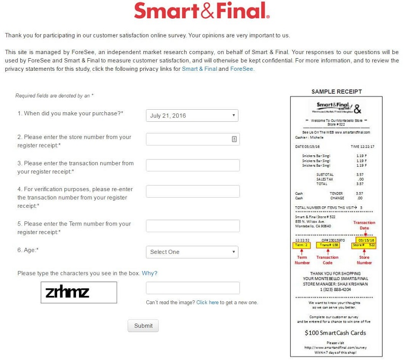 the first page of the smart and final survey