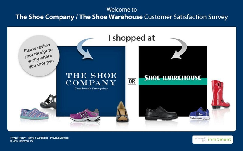 the shoe company survey - print screen of the first page