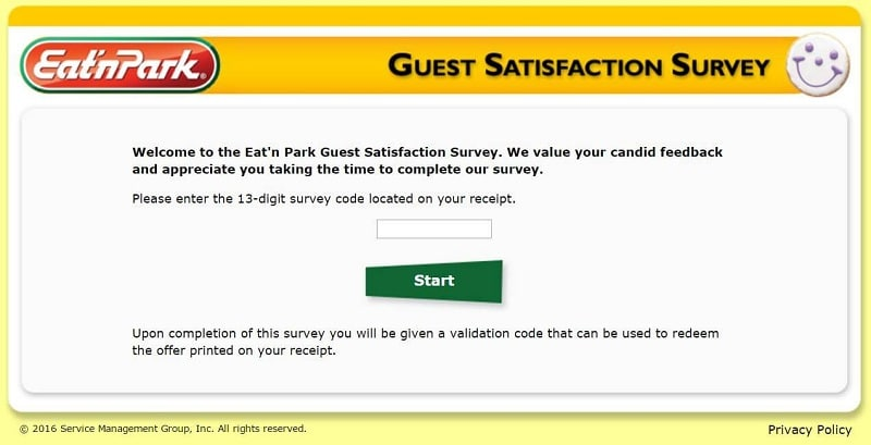 the first page of the eat n park survey