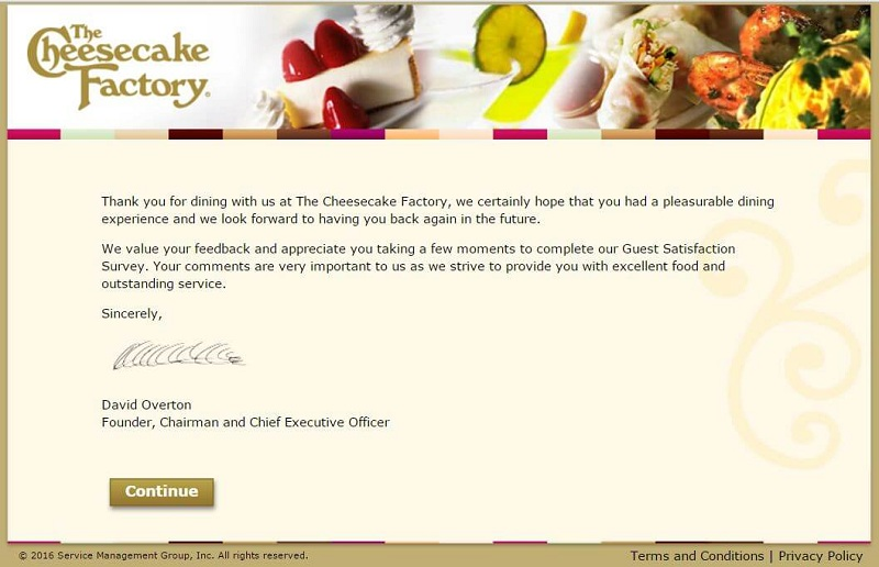 the third page of the cheesecake factory feedback