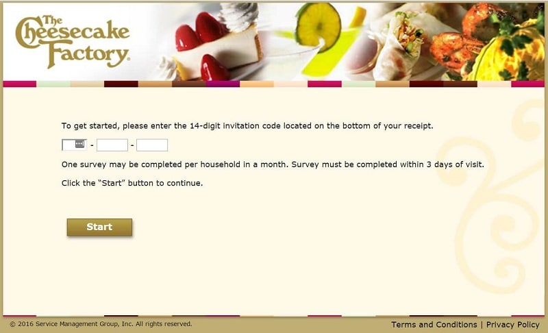 a screencap of the cheesecake factory feedback