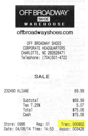 off broadway survey receipt