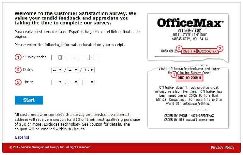 the first page of the officemax survey