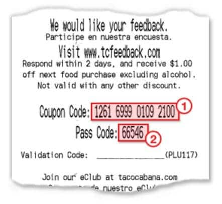 taco cabana survey receipt example