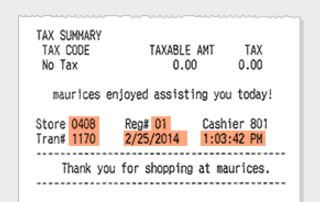 top part of the maurices receipt