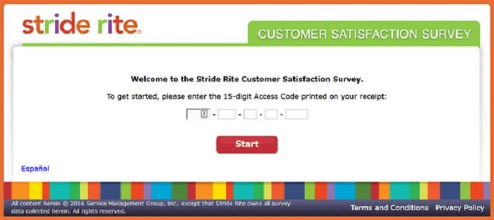 screenshot of the stride rite customer survey