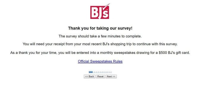 bjs survey screenshot