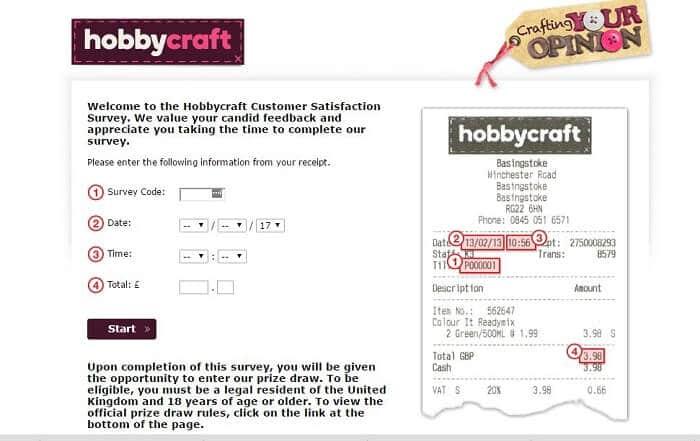 hobbycraft survey screenshot