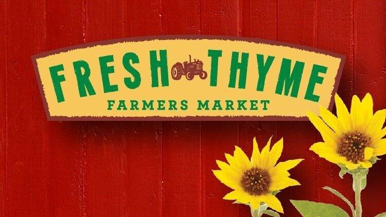 Fresh thyme farmers market logo wide