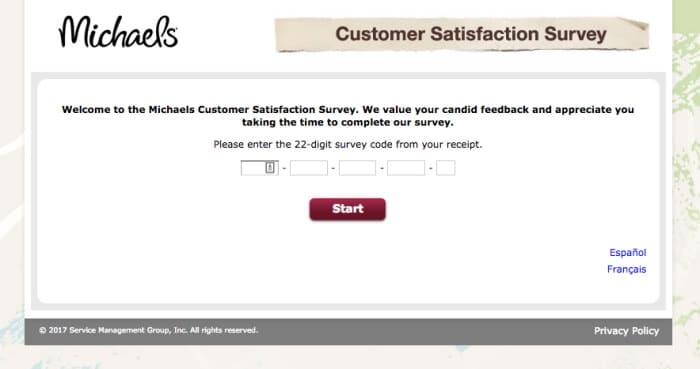 Michaels custmer satisfaction survey screenshot