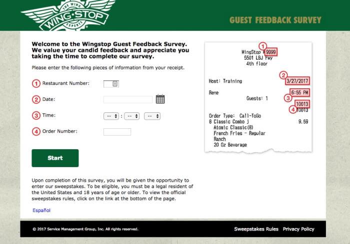 wingstop guest feedback survey screenshot