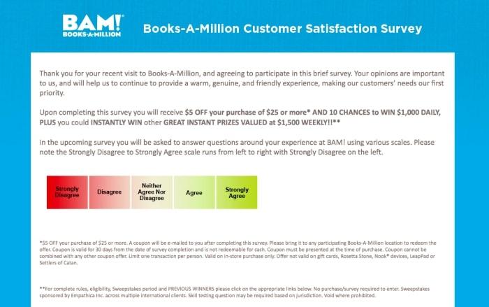 books a million survey screenshot